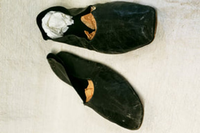 C1830s Man's Flat Leather Shoes