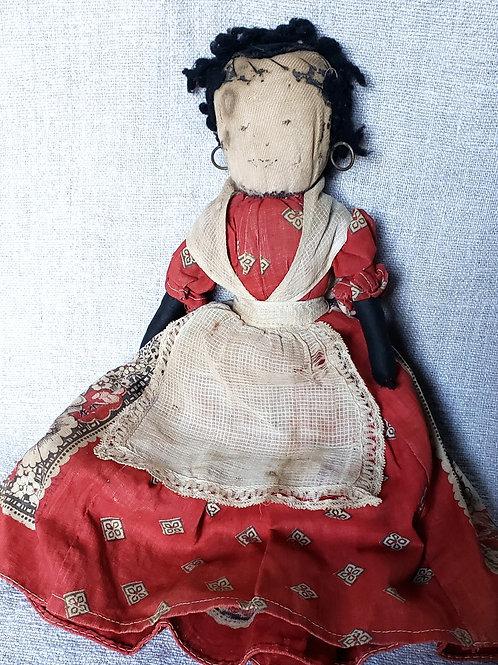 Antique Stump Rag Doll Calico Dress