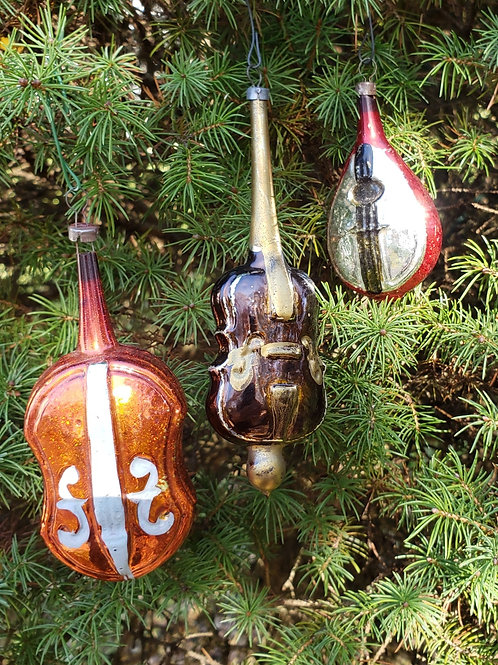 Group of 3 Antique Musical Instrument Blown Glass Ornaments.