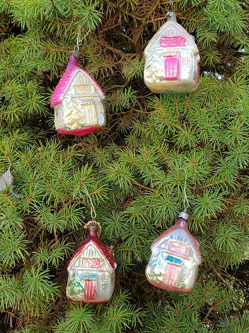 Group of 4 Antique Blown Glass Cottage Ornaments