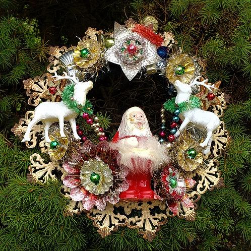 Vintage Christmas Wreath with Santa