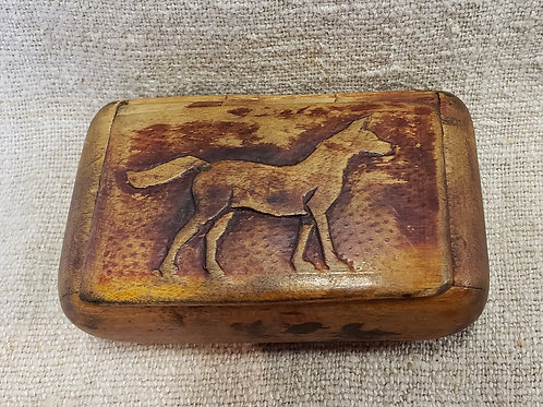 Carved Maple Snuff Box with Dog