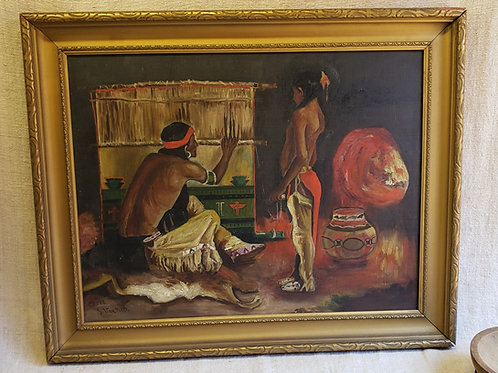 O/C  Native American Weaver Painting