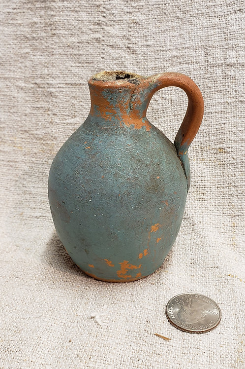 Miniature Redware Jug with Blue Paint