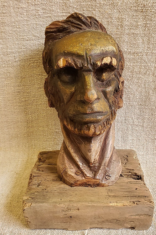 Woodcarving Portrait of Lincoln