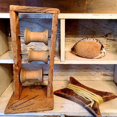 3 Miniatures Pincushion,  Spinning Jenny, Yarn Winder