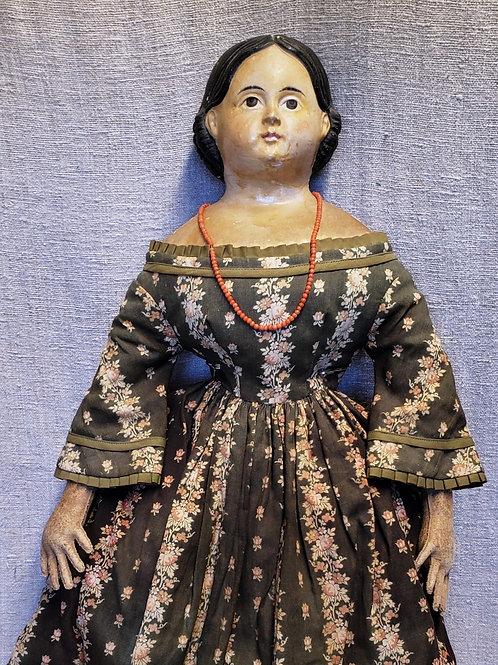"""Exceptional Antique 24"""" Papier Mache Milliner Doll"""