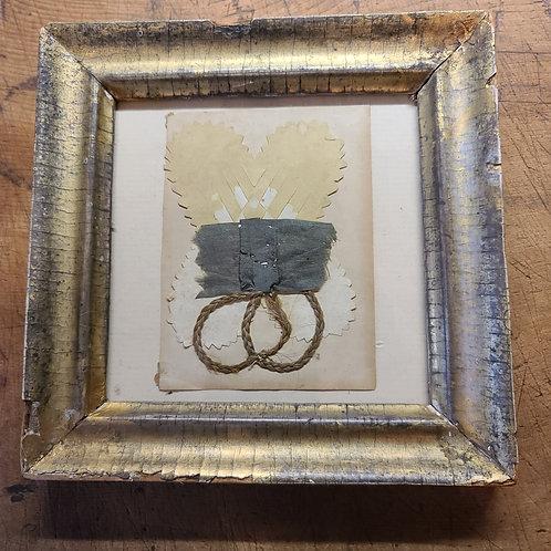 Antique Cut Paper Heart and Hair Memorial