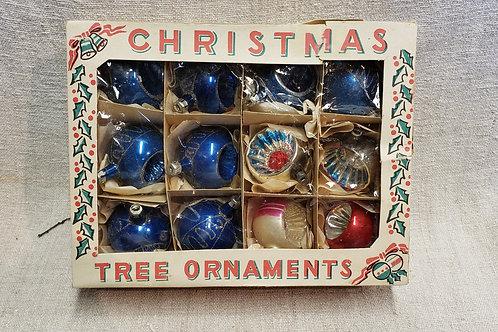 Box of 12 Vintage Glass Christmas Ornaments