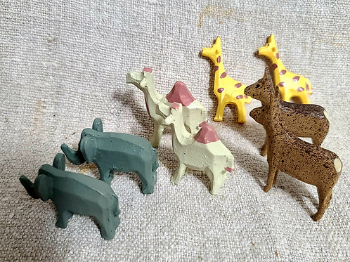 4 Pair of Small Wooden Zoo Animals