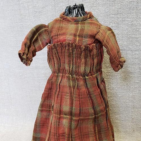 Hand Sewn Brown Plaid Doll Dress