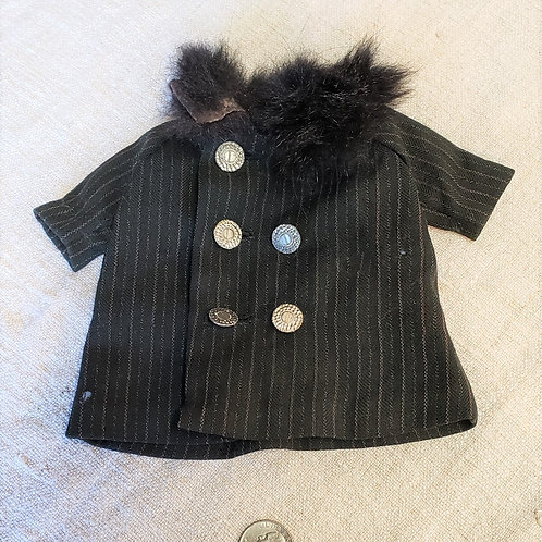 Black Wool Doll Coat with Fur