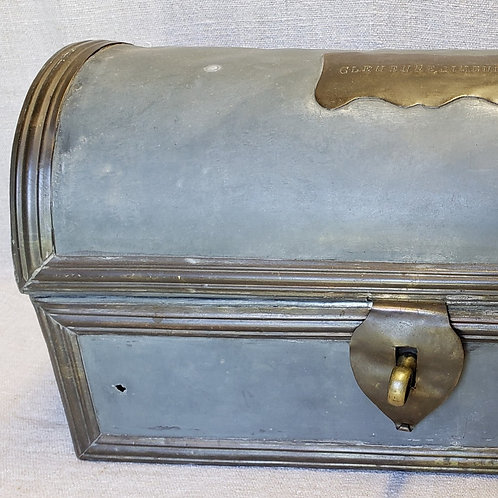 Blue Painted Tin Doll Trunk