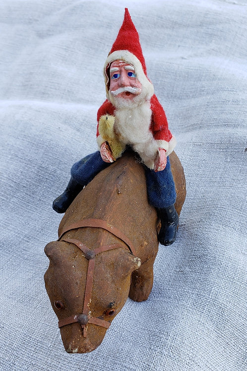 Antique German Santa on a Putz Bear