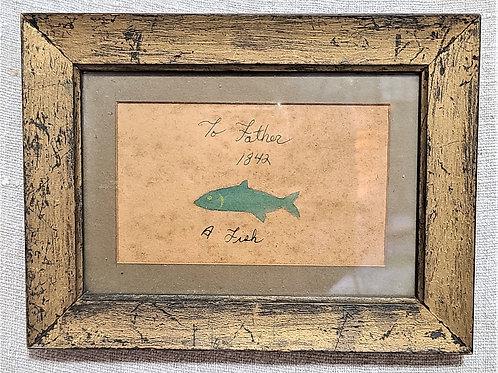 Interesting Antique Fish Watercolor 1836