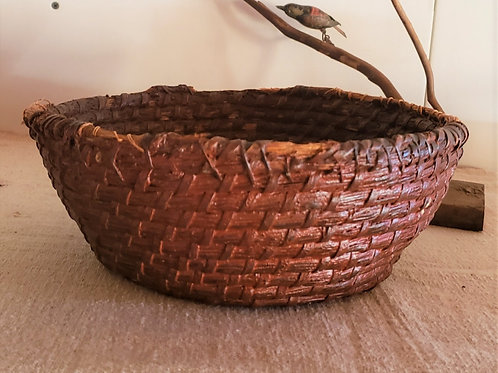 Antique Rye Basket in Old Red Paint