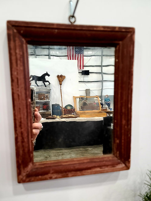 Antique Wood Mirror with Good Red Paint