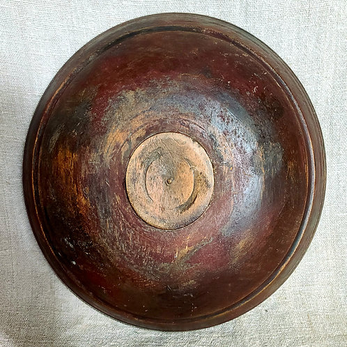 Red Over Blue Original Paint Treen Bowl