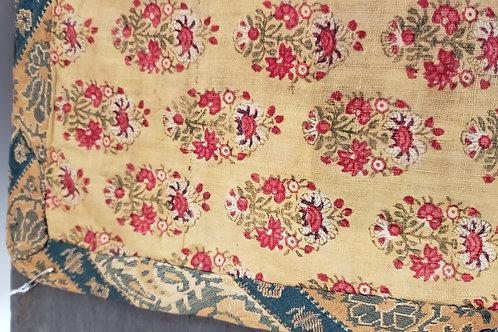 Circa 1830 Copper Print Calico and Silk Mat