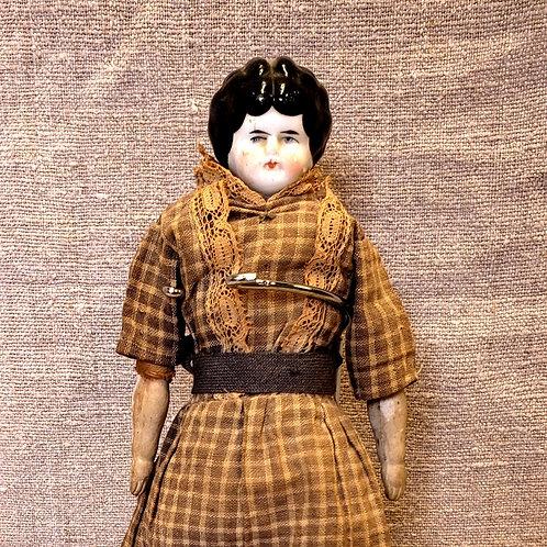 "10"" China Head Doll Brown Dress"