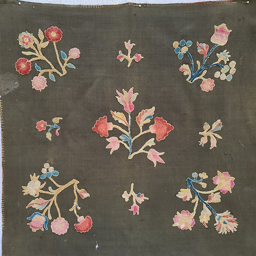Antique Tablecover with 18th C Crewel Slips