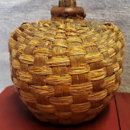 Fat Redware Jug with Straw Covering