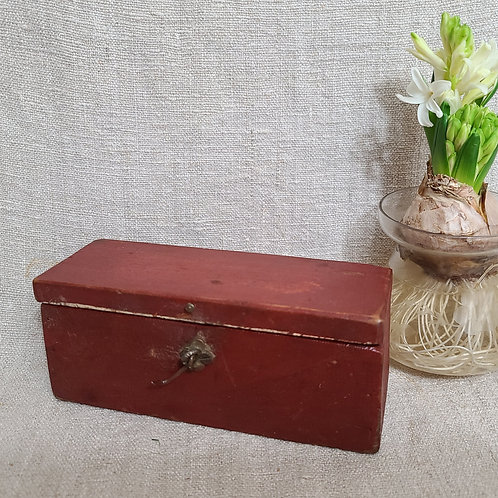 Small Wood Box in Good Red Paint