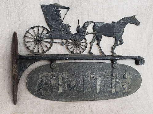 Early Cast Metal Sign Horse and Carriage