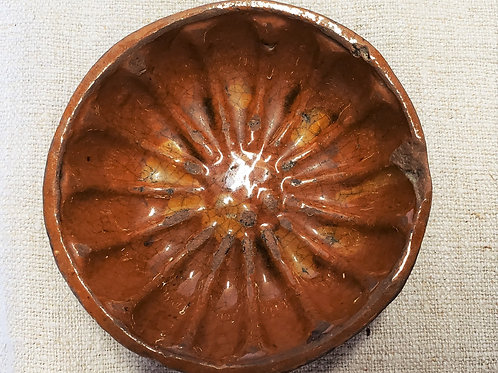 Miniature Redware Mold with Slip Decoration