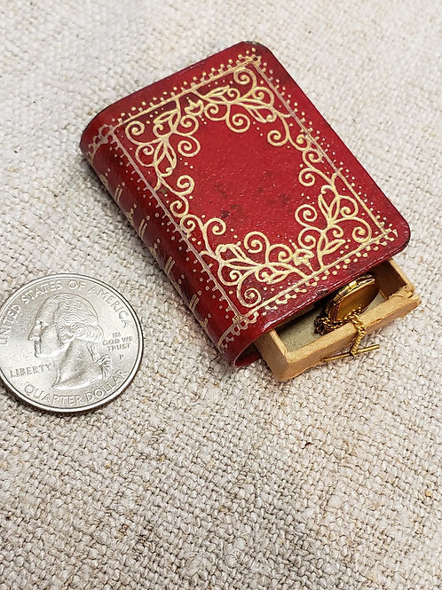 Red Leather Book Box with Watch and Chain