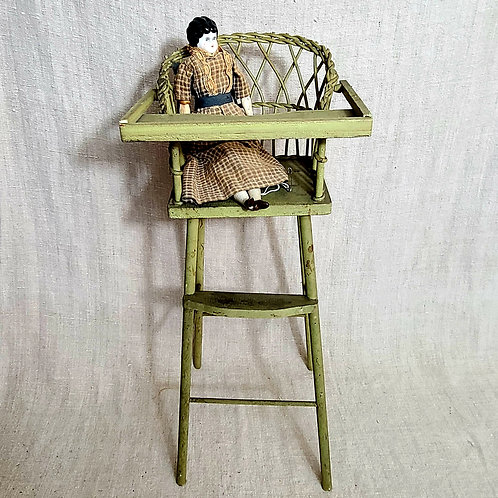 Green Wicker and Wood Doll's Highchair