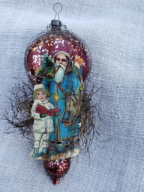 Single  Large Antique Ornament with Diecut Santa