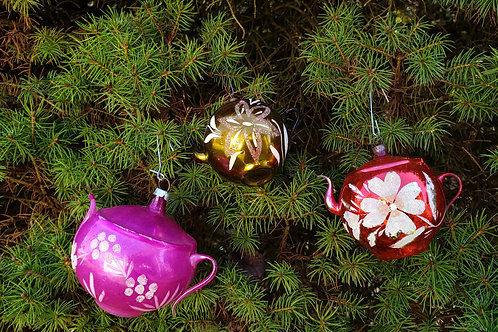 Group of 3 Freeblown Antique Glass Ornaments Teapots