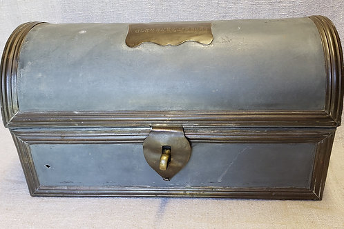 Blue Painted Tin Dome Top Trunk