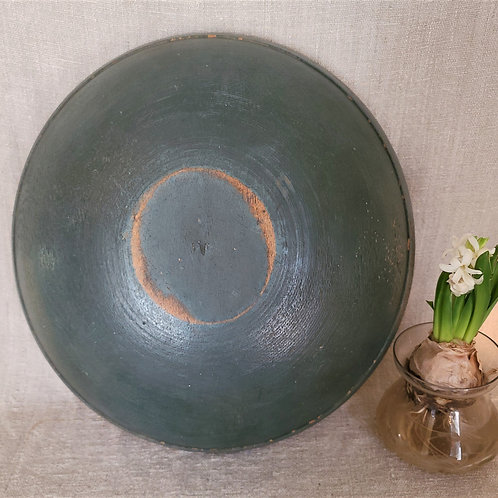 Antique Treen Bowl with Great Blue Paint