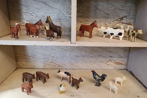 Group of 19 Tiny Farm Animals