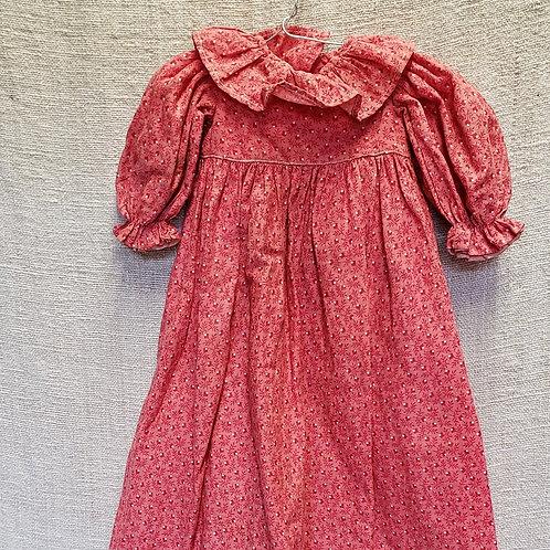Long Pink Calico Doll Dress