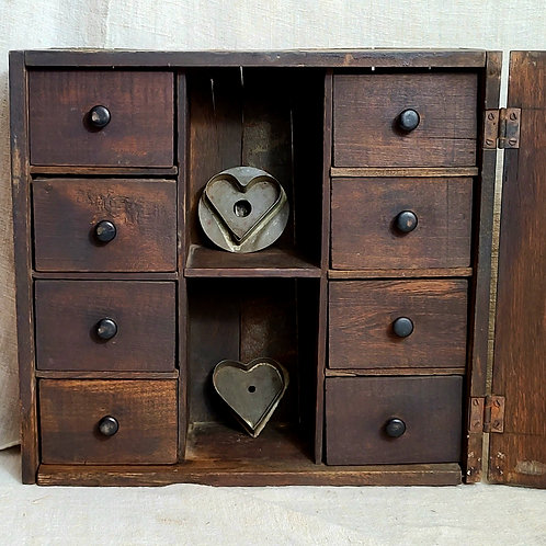 Antique Hanging Cupboard with Spice Drawers and Mirror
