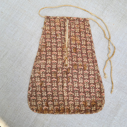 Antique Woman's Red Printed Linen Pocket