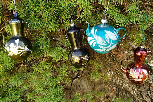 Group of 4  Freeblown Antique Glass Ornaments Teapots and Coffee Pots