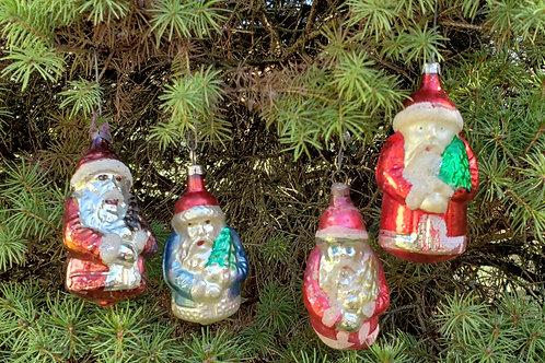 Group of 4 Antique Blown Glass Santa Ornaments.