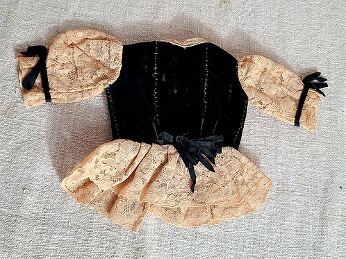 Hand Sewn Velvet Lace Doll Top