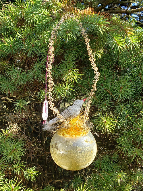 Early Glass Blown Ornament with Bird on Nest