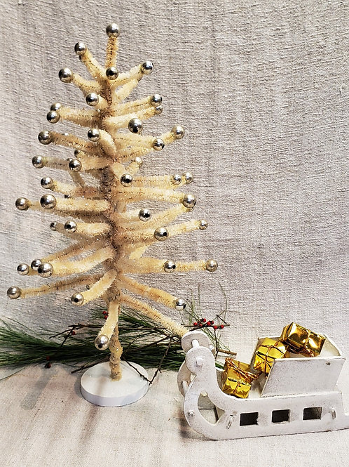 Vintage Soft Velvet Wire Tree with Silver Balls