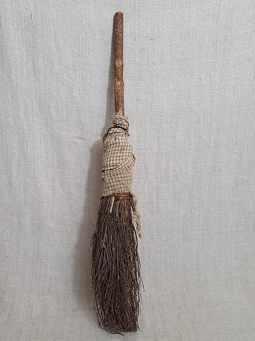 Vintage Twig Broom with Brown Fabric Wrap