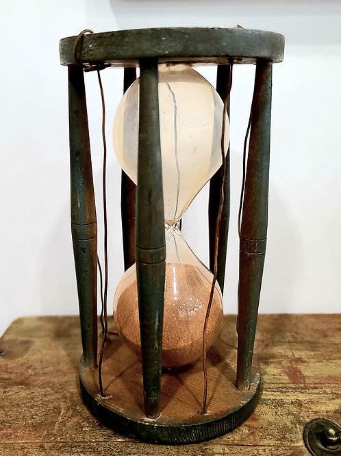 Large Green Wooden Hourglass