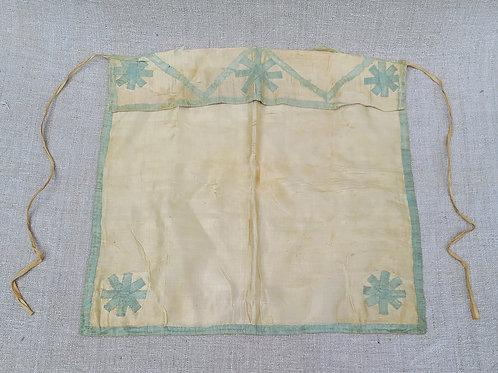 Antique Silk Wedding Apron with Initials and Silk Applique Trim