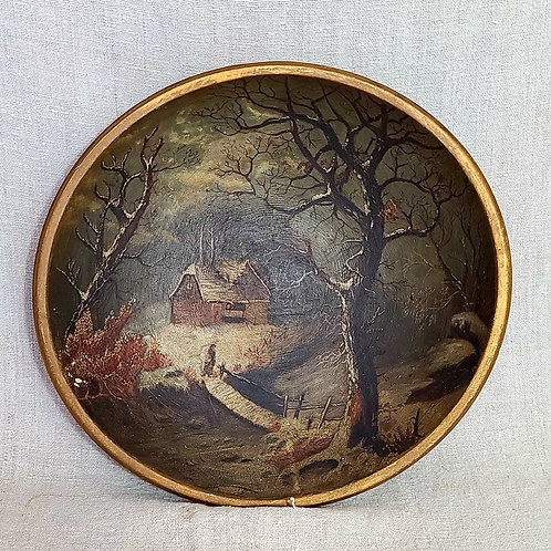 Large Treen Bowl with Landscape Painted Inside