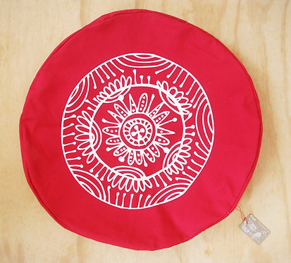 Cojín redondo (60 cms) rojo/mandala