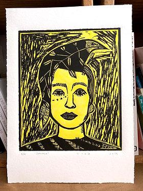 Xilografía 'Oaxaqueña' en amarillo